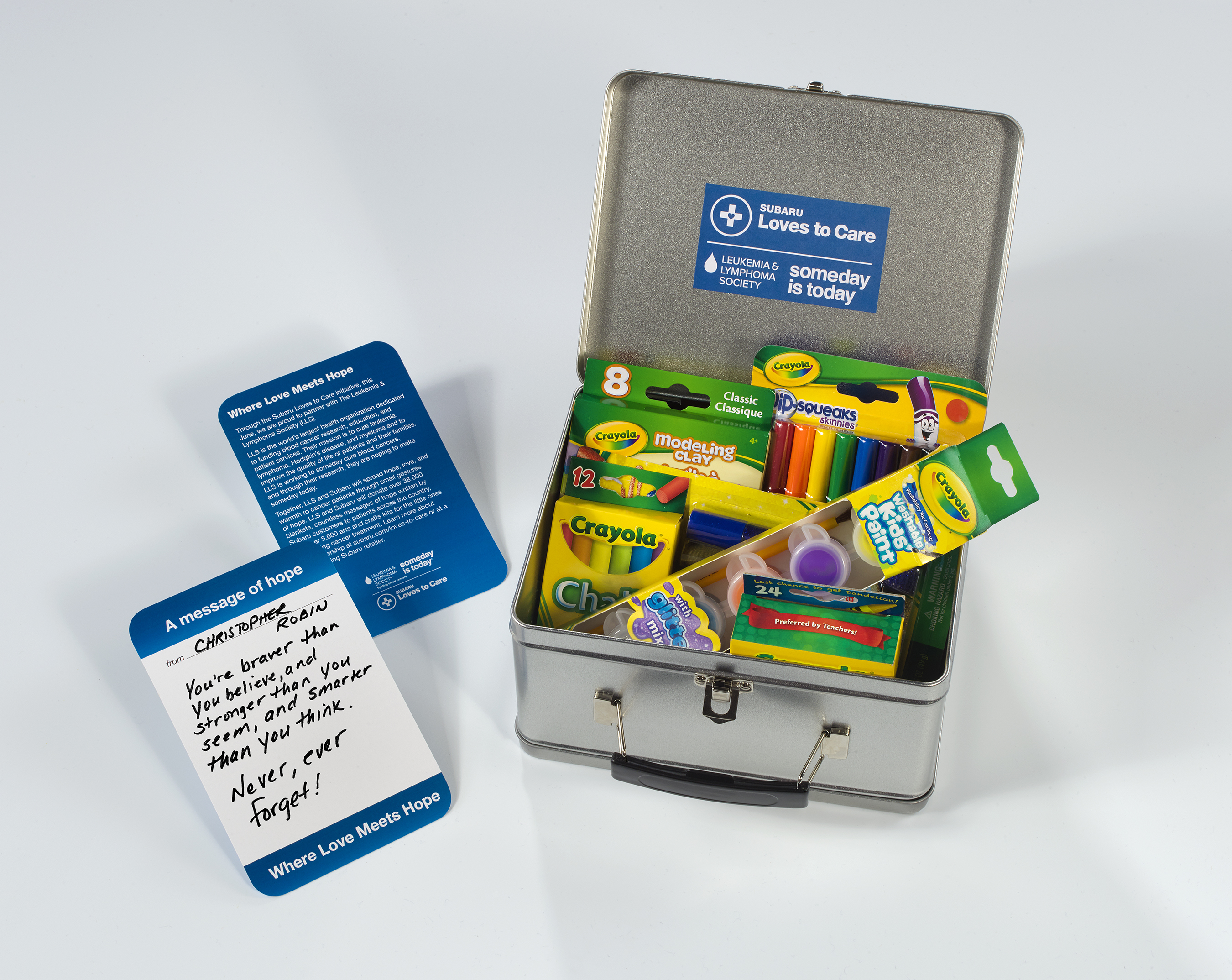 For Subaru Loves to Care month, Subaru and LLS will deliver personalized messages of hope alongside arts and crafts kits to children battling cancer in local communities.