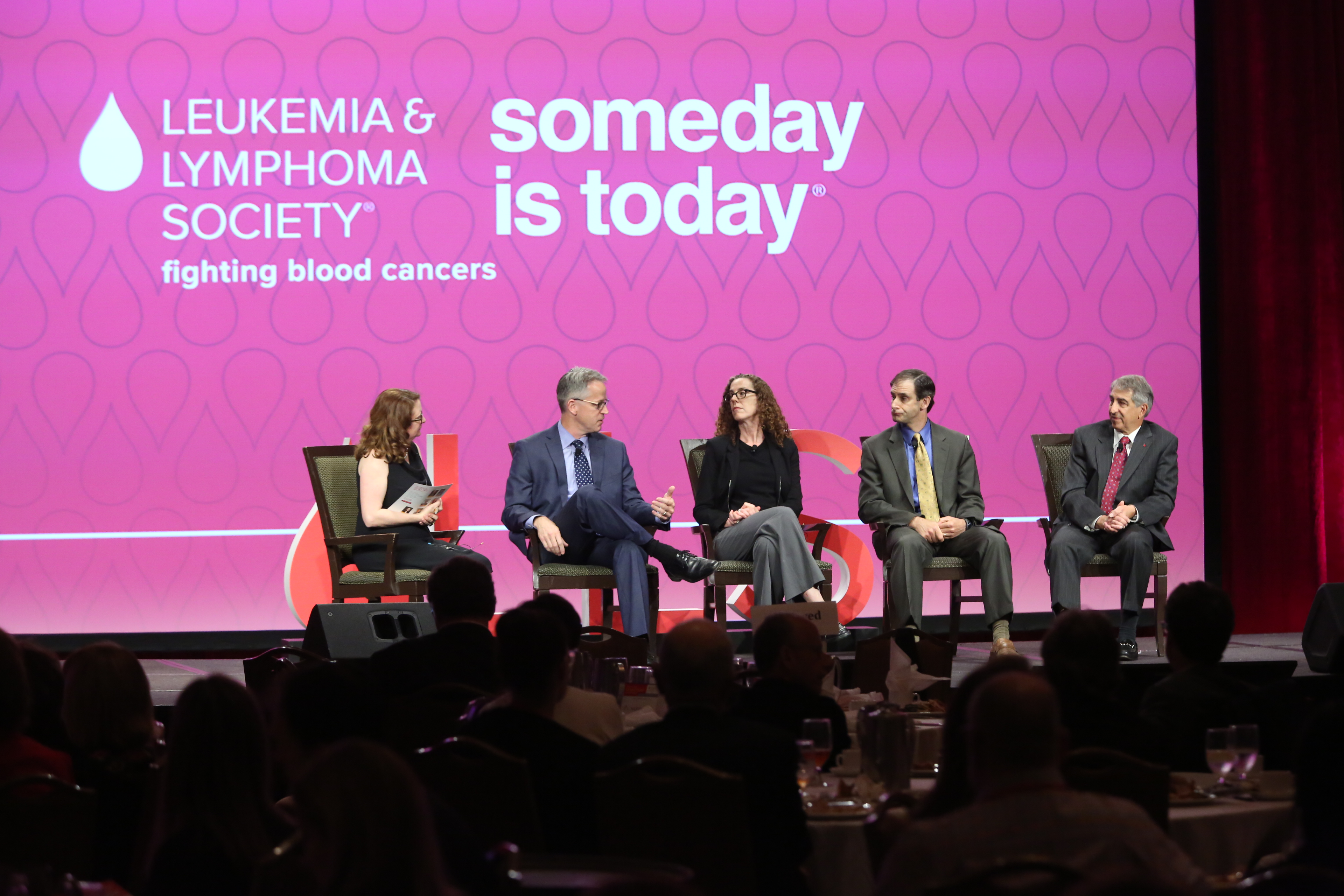 "The Leukemia & Lymphoma Society's ""Leading the Way to Cancer Cures"" panel on the cost of cancer care. (From left to right: Liz Szabo, Kaiser Health News; Randy Burkholder, PhRMA; Robin Yabroff, Ph.D., MBA, U.S. Department of Health and Human Services; Joshua Seidman, Ph.D., Avalere; Louis DeGennaro, Ph.D., LLS.)"