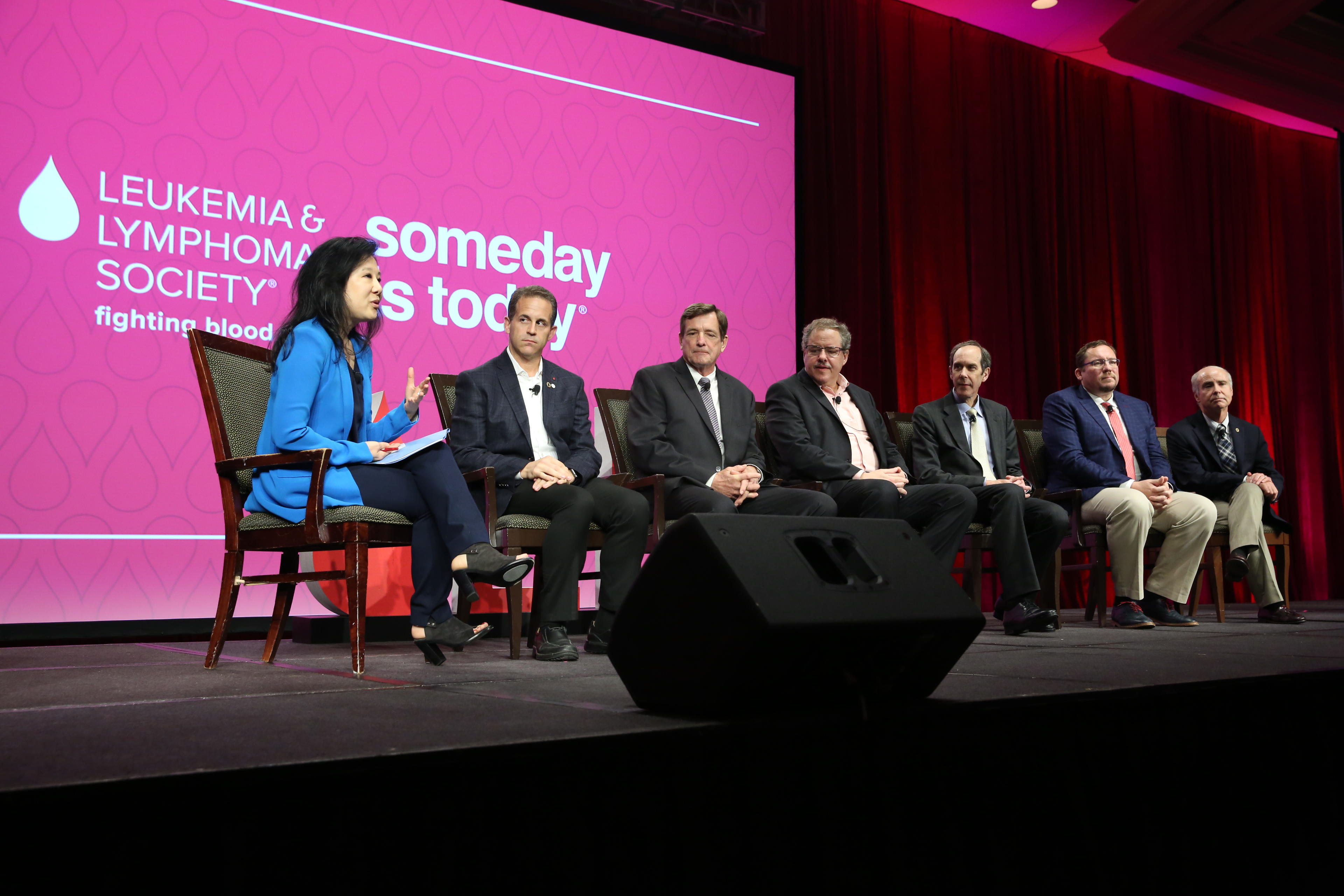 "The Leukemia & Lymphoma Society's ""Leading the Way to Cancer Cures"" panel on immunotherapy and precision medicine. (From left to right: Alice Park, TIME; Ross L. Levine, M.D., Memorial Sloan Kettering Cancer Center; Douglas Olson, Chronic Lymphocytic Leukemia Survivor; Stephan Grupp, M.D., Ph.D., Children's Hospital of Philadelphia; Brian Druker, M.D., OHSU Knight Cancer Institute;  Renier Brentjens, M.D., Ph.D., Memorial Sloan Kettering Cancer Center; Kenneth Anderson, M.D., Dana-Farber Cancer Institute.)"
