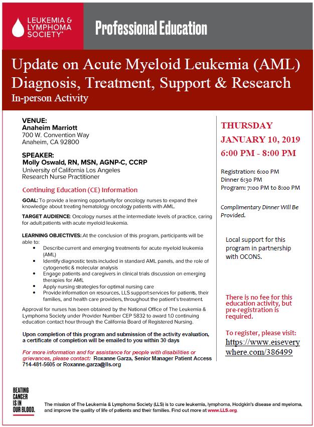Update on Acute Myeloid Leukemia (AML) Diagnosis, Treatment